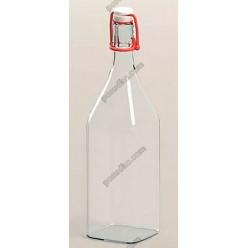Glass rope lock Пляшка з бугельним корком квадратна прозора 500 мл (EverGlass)