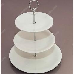 Alt porcelain Етажерка трирівнева з ручкою 280, 210,180 мм h-340 мм (Alt porcelain)