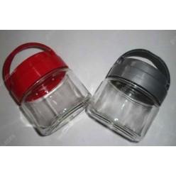 Для зберігання Банка з пластиковою кришкою та ручкою червона кришка d-80 мм, h-93 мм 290 мл (EverGlass)