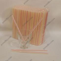 Фреш Трубочки прямі біла, червона, жовта смужка d-6,8 мм, L-210 мм (Пласт)