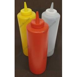 Kitchen Пляшка для соусу, сиропу з носиком червона d-53 мм, h-170/205 мм 340 мл (Україна)