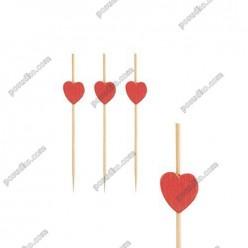 Бамбукові Шпажки серце червоні L-70 мм (PapStar)