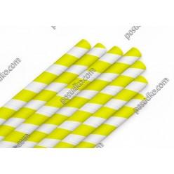 Еко Трубочки паперові прямі індивідуально запаковані жовта смужка d-8 мм, L-200 мм (Україна)