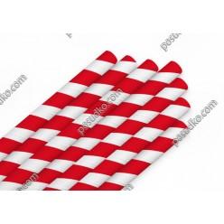 Еко Трубочки паперові прямі індивідуально запаковані червона смужка d-8 мм, L-200 мм (Україна)