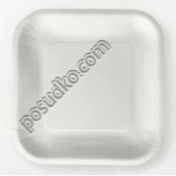 Еко Тарілка паперова квадратна мілка білі 233 х233 мм (Україна)