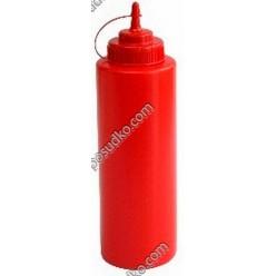 Kitchen Пляшка для соусу, сиропу з носиком з ковпачком червона d-80 мм, h-270 мм 1,0 л (FoREST)
