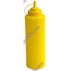 Kitchen Пляшка для соусу, сиропу з носиком з ковпачком жовта d-80 мм, h-270 мм 1,0 л (FoREST)